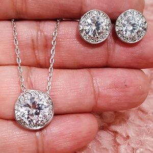 BRILLIANT SILVER PLATED CZ NECKLACE SET